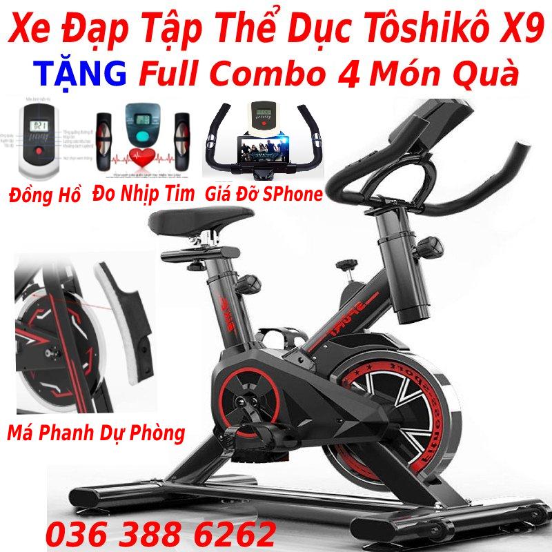 Xe đạp tập thể dục Toshiko X9 tặng má phanh dự phòng + đo nhịp tim + đồng hồ 7 chỉ số + giá đỡ điện thoại + đồng hồ đo 7 chỉ số, bảo hành 3 năm