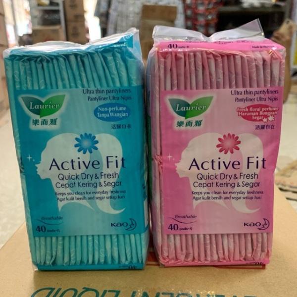 Băng vệ sinh hằng ngày Laurier Active Fit Hương hoa gói 40 miếng ( hồng  xanh ), cam kết hàng đúng mô tả, chất lượng đảm bảo an toàn đến sức khỏe người sử dụng cao cấp