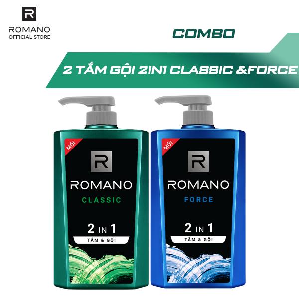Combo Tắm gội 2 trong 1 Romano Classic 650gr và Tắm gội Force 650gr tốt nhất
