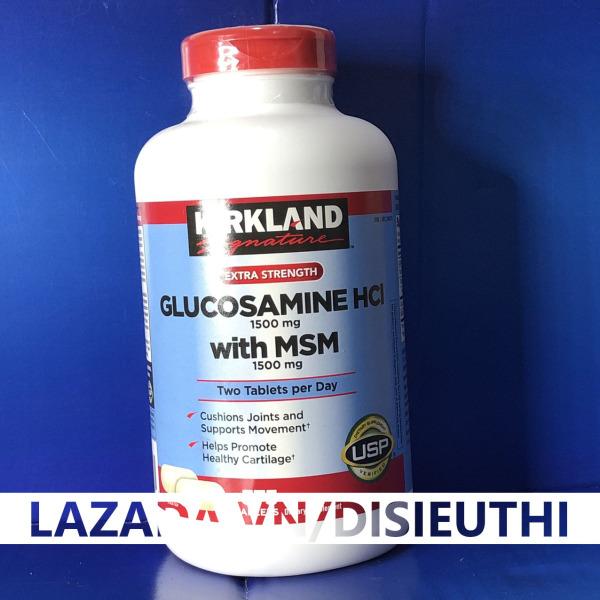 Viên Uống Bổ Khớp Glucosamine HCL 1500mg Kirkland With MSM 1500mg Hộp 375 Viên, Nắp Đỏ  nuôi dưỡng đồng thời hỗ trợ tốt cho xương khớp,Hỗ trợ giảm các triệu chứng khó chịu liên quan tới xương khớp giá rẻ