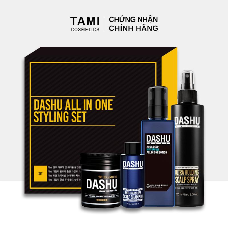 Bộ sản phẩm chăm sóc da và tóc cho nam DASHU All In One Styling Set Dầu gội + Sáp vuốt tóc + Xịt tạo kiểu tóc + Sữa dưỡng da TM-SET03