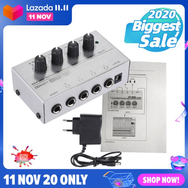 【Hot Sale】Bộ khuếch đại Tai nghe âm thanh nổi Mini 4 kênh ha400 siêu nhỏ gọn với Bộ đổi nguồn