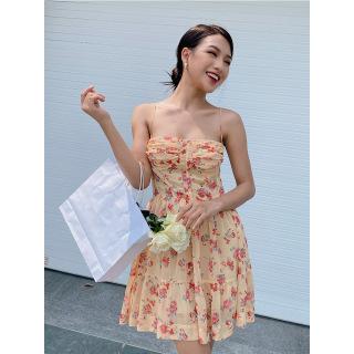 RECHIC Đầm Dulcie Họa Tiết Hoa Hai Dây Nhún Ngực Xinh Xắn Dễ Thương thumbnail