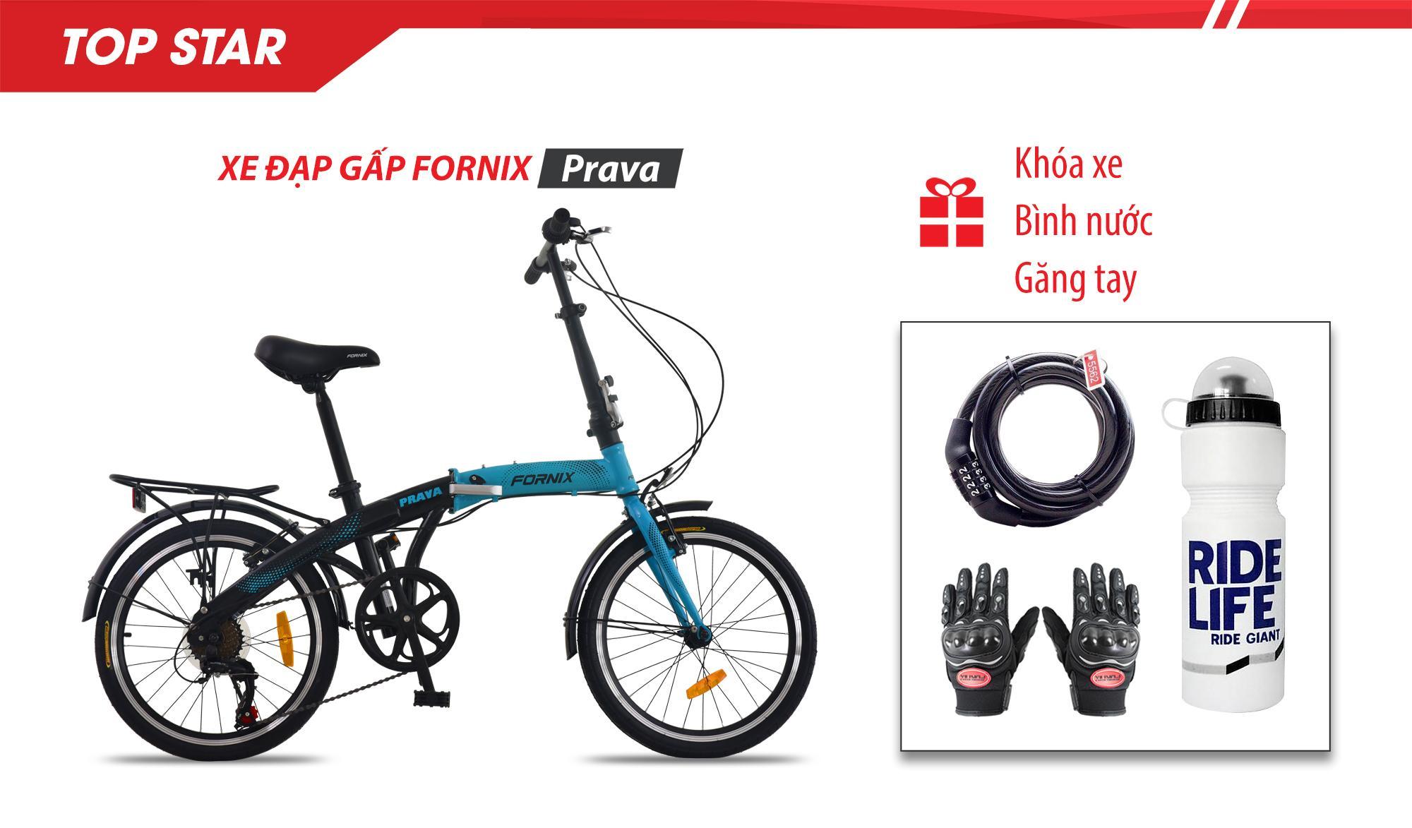 Mua Xe đạp gấp thể thao Prava- vòng bánh 20 inch- Bảo hành 12 tháng + Găng tay, Bình nước, Khóa xe cao cấp