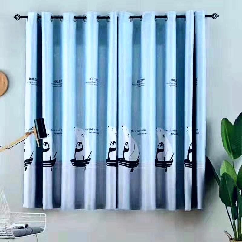 Rèm cửa sổ, cửa phòng ngủ chống nắng giá rẻ, hoạ tiết chim cánh cụt TNS-002