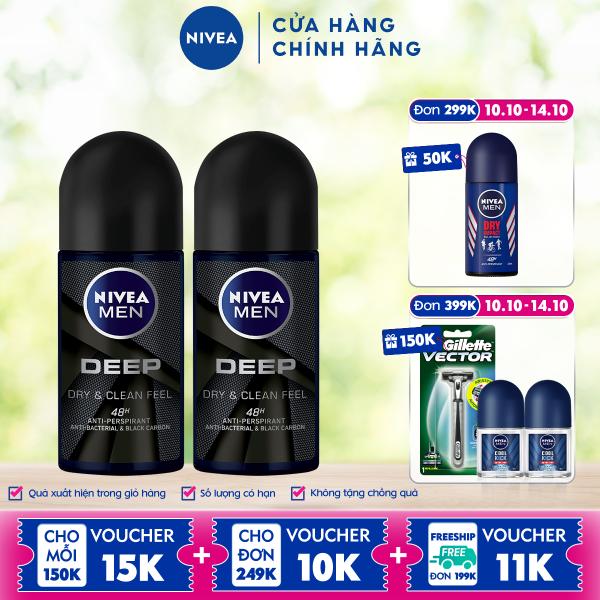 Bộ đôi Lăn Ngăn Mùi NIVEA MEN DEEP Than Đen Hoạt Tính 50ml - 80031 cao cấp