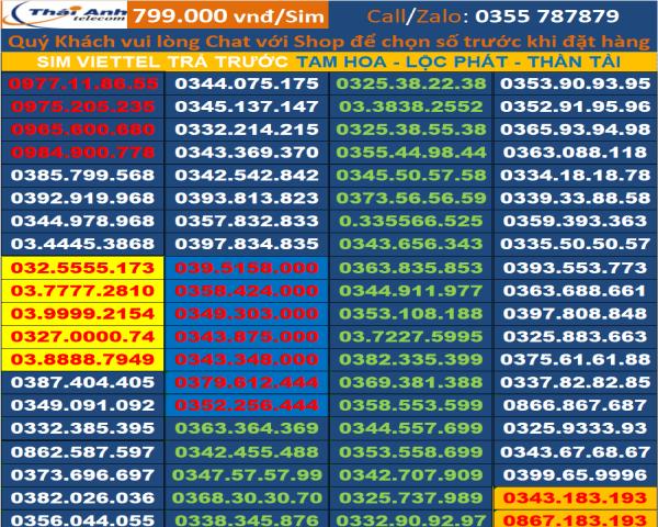 Số đẹp Viettel Thái Anh - Sim Tiến - Lộc Phát - Dễ Nhớ - Thần Tài đồng giá 799.000đ