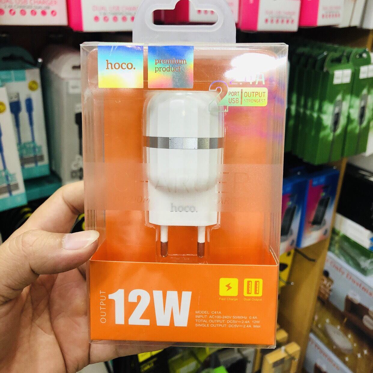 Combo bộ cốc sạc nhanh Hoco C41A 2 USB cho IPhone/Ipad