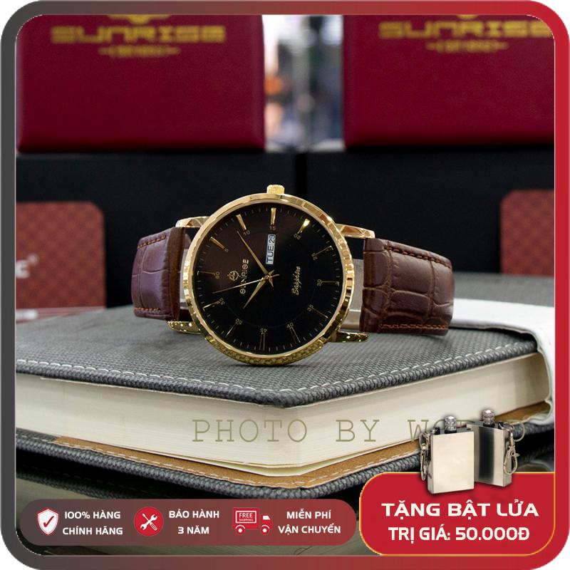 Đồng hồ Nam Sunrise DM1216SWA W Full Box, Thẻ BH 3 Năm, Kính Sapphire Chống Nước, Chống Xước, Dây Da Cao Cấp