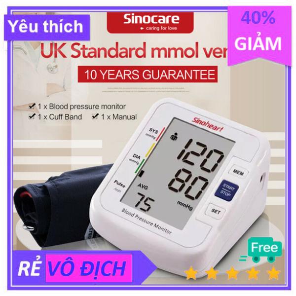 Máy đo huyết áp điện tử bắp tay Sinoheart có đo cả nhịp tim theo dõi huyết áp cao và tim mạch bảo hành 5 năm