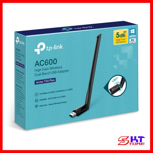 Giá USB Thu Sóng Wifi Tp-Link Archer T2U Plus Băng Tần Kép Chuẩn AC Tốc Độ 600Mbps - Hàng Chính Hãng