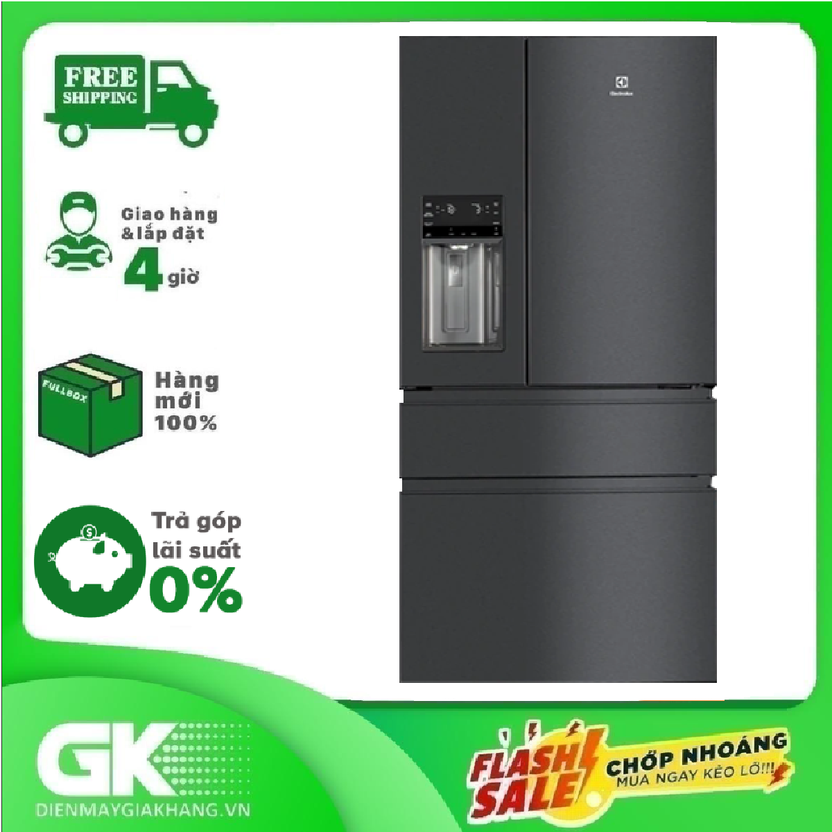 [Trả góp 0%]Tủ lạnh Electrolux 681 lít Inverter EHE6879A-B