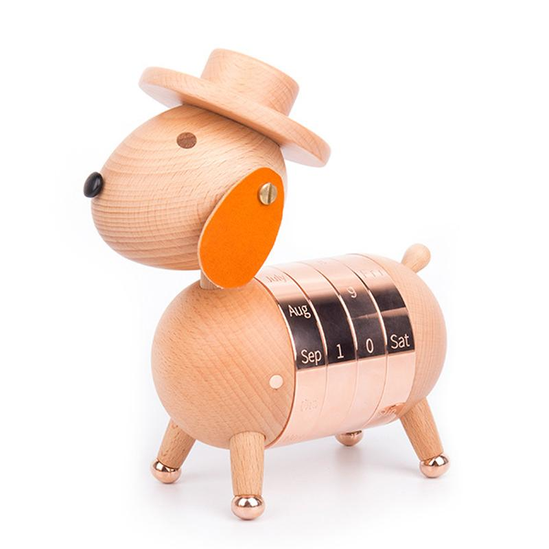 Mua Wooden Puppy Calendar European Furnishings Creative Gifts Wooden Dog Toys Nordic Crafts Wood Home Decoration