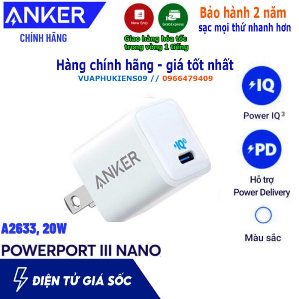 Anker a2633 PowerPort III Nano 1 cổng USB-C dùng cho Samsung, IPad, IPhone