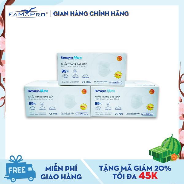 Combo 3 hộp khẩu trang y tế cao cấp 4 lớp Famapro Max kháng khuẩn (40 cái / Hộp)