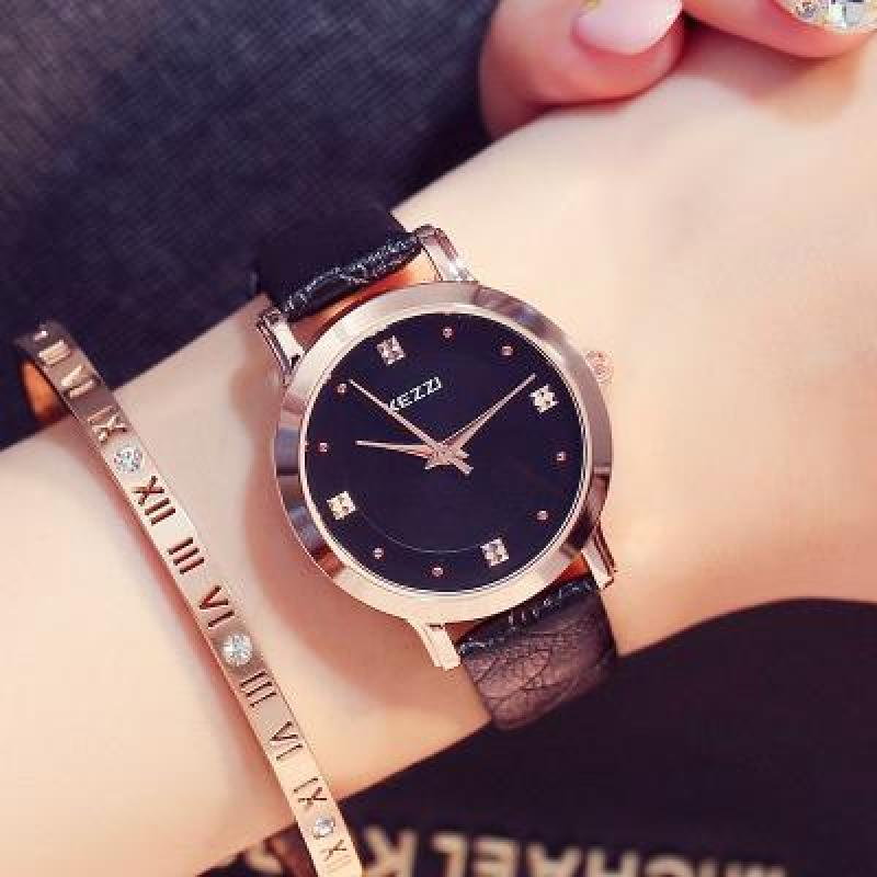 Đồng hồ nữ KEZZI phong cách Hàn Quốc dây da Chất lượng cao cấp Thời trang Công nghệ Nhật Bản Quà tặng Tình yêu Hộp trang sức Đẹp WH-K1208