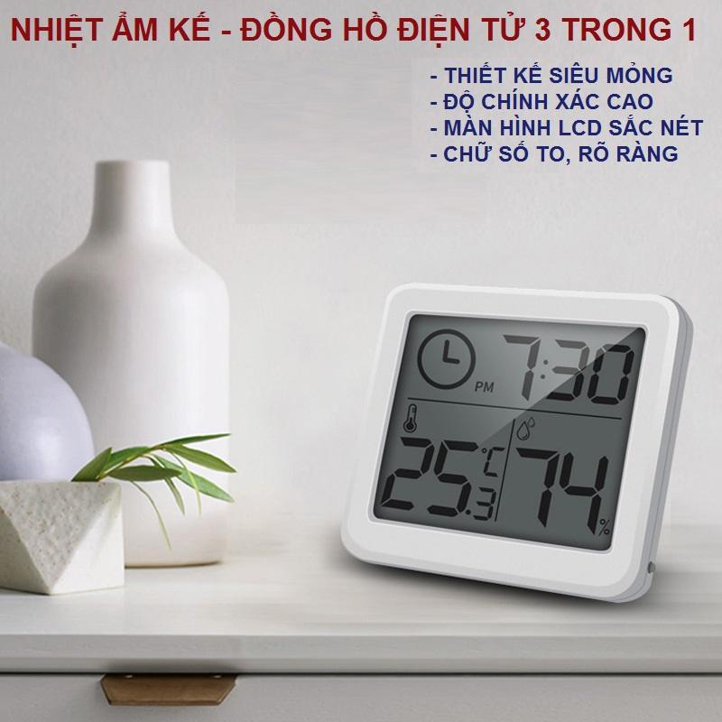 Nhiệt ẩm kế kiêm đồng hồ điện tử LCD siêu mỏng chính hãng