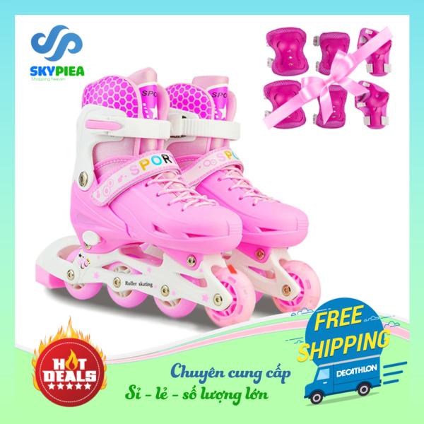 Phân phối [ Loại 8 bánh có đèn phát sáng ] Giày patin cho trẻ - Giày trượt patin trẻ em - Giày patin cho bé - Dành cho trẻ từ 3-15 tuổi - Tặng Bộ Bảo Hộ An Toàn Cho Bé