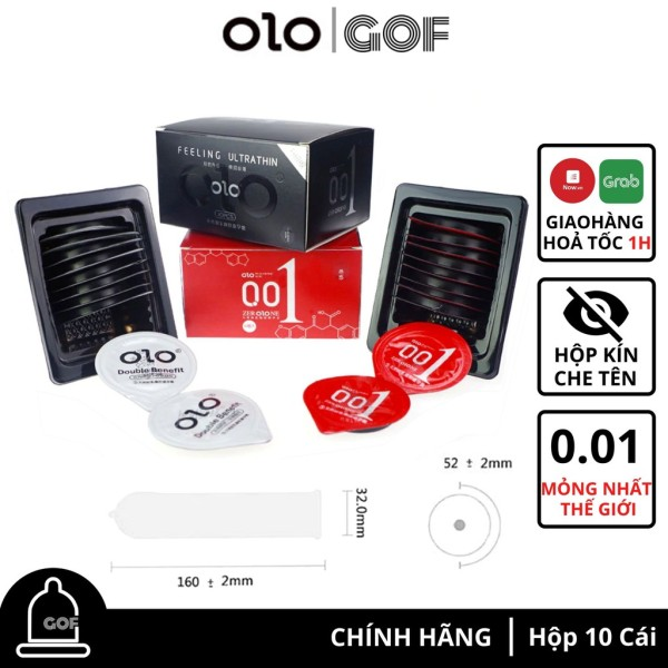 Bao cao su siêu mỏng 0.01 OLO nhiều gel bôi trơn kéo dài thời gian 001 Hộp 10 – GoF Store nhập khẩu