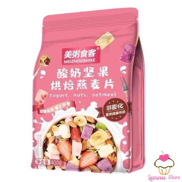 Cơ Hội Giá Tốt Để Sở Hữu [GIẢM CÂN] Ngũ Cốc Sữa Chua Mix Hạt, Hoa Quả YOGURT FRUIT OATMEAL Gói 400g - Đài Loan (loại Có Thêm Cục Sữa Chua)