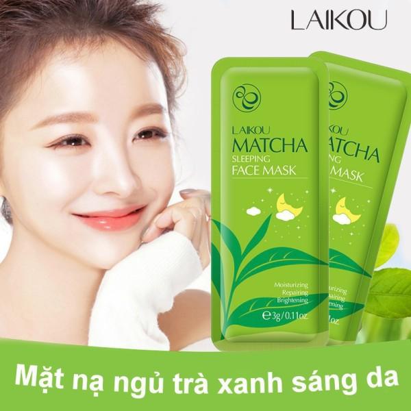 TUTA - Mặt nạ ngủ Matcha LAIKOU dưỡng ẩm, chống lão hóa và ngăn bã nhờn cho da kết hợp phục hồi da, lẻ 1 gói 3g MATNA-MATCHA