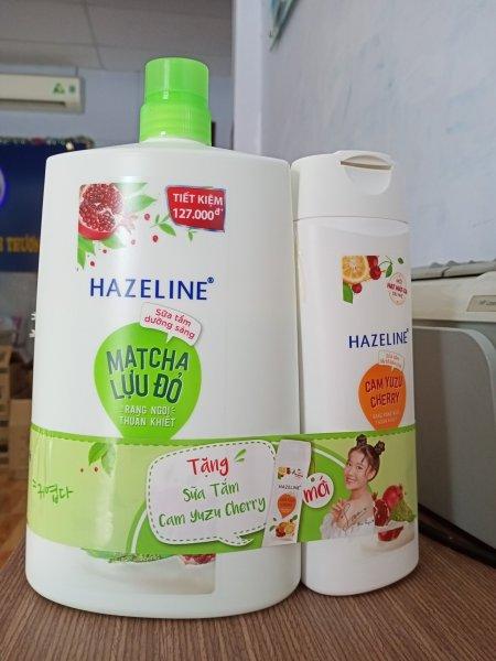 Sữa tắm Hazeline Matcha Lựu đỏ 1,2kg Tặng sữa tắm Cam Yuzu Cherry 300g giá rẻ