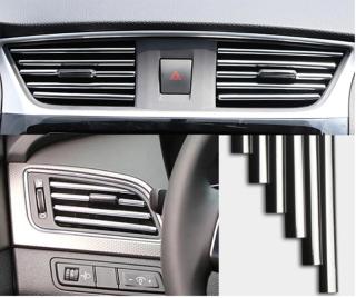 10 dải trang trí cho lỗ thông hơi điều hòa ô tô, miếng dán nội thất ô tô, bảng điều khiển xe, bảng điều khiển, loa, hộp số (mạ đỏ, mạ vàng, mạ xanh, mạ bạc) thumbnail