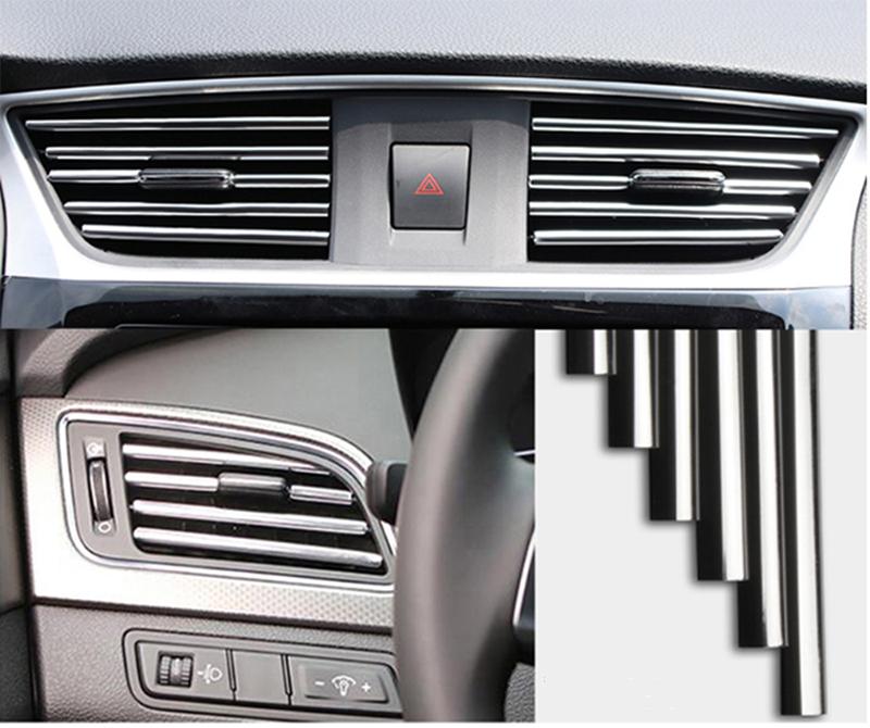 10 dải trang trí cho lỗ thông hơi điều hòa ô tô, miếng dán nội thất ô tô, bảng điều khiển xe, bảng điều khiển, loa, hộp số (mạ đỏ, mạ vàng, mạ xanh, mạ bạc)