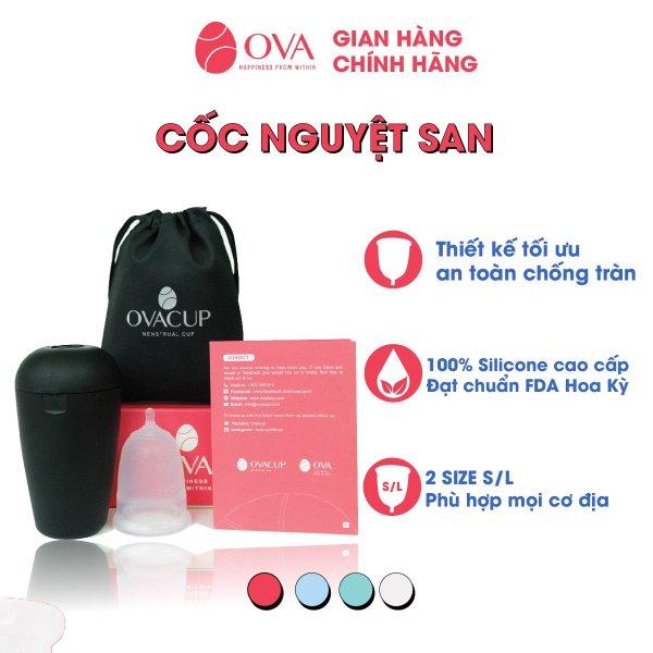Cốc nguyệt san Ovacup nhập khẩu chính hãng Made In USA 100% Silicone y tế mềm chống tràn đạt tiêu chuẩn FDA Hoa Kỳ (màu trắng)