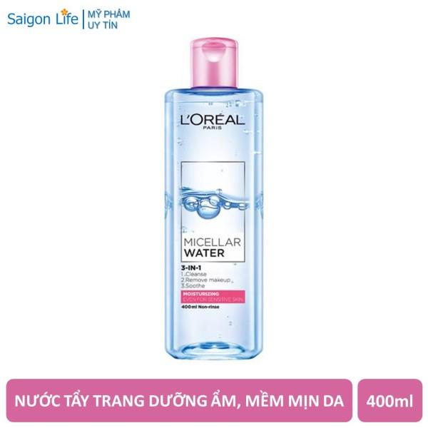 Nước Tẩy Trang Dưỡng Ẩm LOreal Paris 3-in-1 Moisturizing Micellar Water 400ml (Hồng) giá rẻ