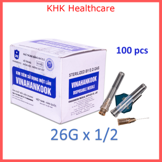 Kim tiêm 26Gx1 2 Vinahankook (đầu kim 26G) vô trùng hộp 100 kim thumbnail
