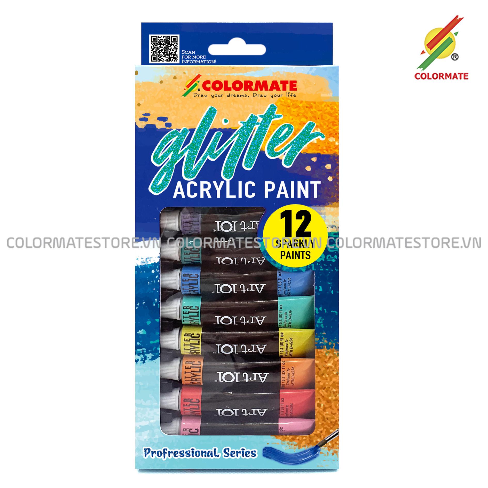 Hộp Giấy 12 Tuýp Glitter Acrylic Paint Bất Ngờ Ưu Đãi Giá