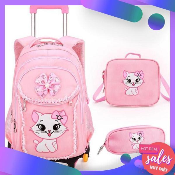 Giá bán Balo Kéo Học Sinh Hello Kitty Tặng Kèm Túi Xách Và Hộp Bút Siêu Xinh