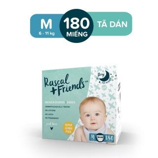 [ĐỘC QUYỀN TẠI LAZADA] - Hộp 3 Gói Tã Bỉm Dán Rascal & Friends cho bé 6kg - 11kg - Size M 180 miếng thumbnail