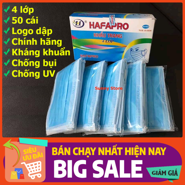 Khẩu trang y tế 4 lớp màu xanh hộp 50 cái HAFAPRO