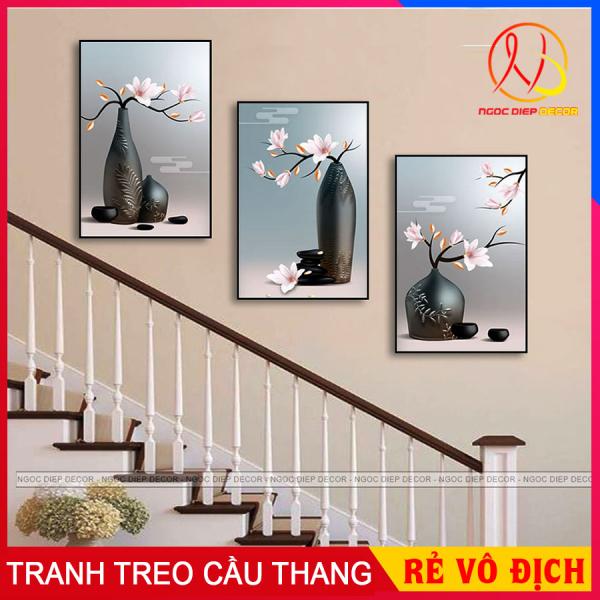 [ Freeship ] Tranh treo tường cầu thang lọ hoa 3 tấm 20x30, in sắc nét, chống nước không bay màu, tặng kèm đinh 3 chân để treo tranh