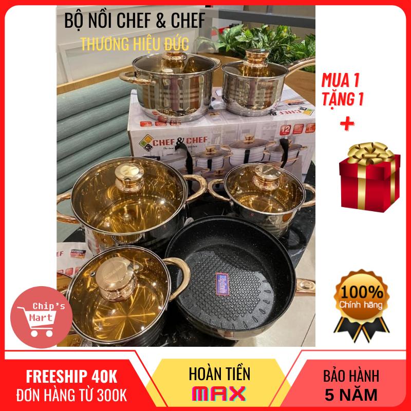 [HOT SALE] Bộ nồi CHEF & CHEF vung kính, 6 món 12 chi tiết, thương hiệu Đức – Siêu đẹp – Siêu bền - Dùng được cho mọi loại bếp, đặc biệt là bếp từ