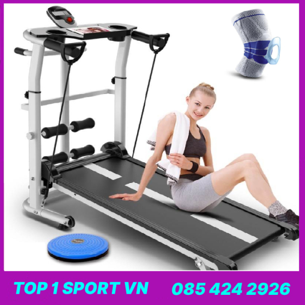 Máy tập chạy bộ bằng cơ không dùng điện Elipsport® - Tặng kèm giá đỡ tập cơ bụng + bàn xoay eo + băng gối thể thao + dây cáp co giãn