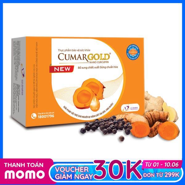 Viên nang mềm Nano curcumin 150 mg Cumargold New  cùng gừng chuẩn hóa hỗ trợ cải thiển trào ngược, viêm loét dạ dày tá tràng