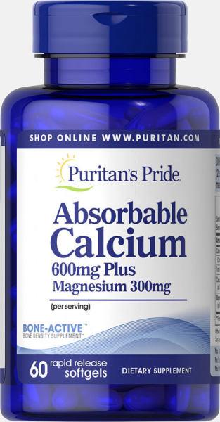 Sales 65% - Viên uống canxi nang mềm (30/09/2021) dễ hấp thu ngừa loãng xương không kích ứng dạ dày - Absorbable Calcium magnesium Puritans Pride 60 viên