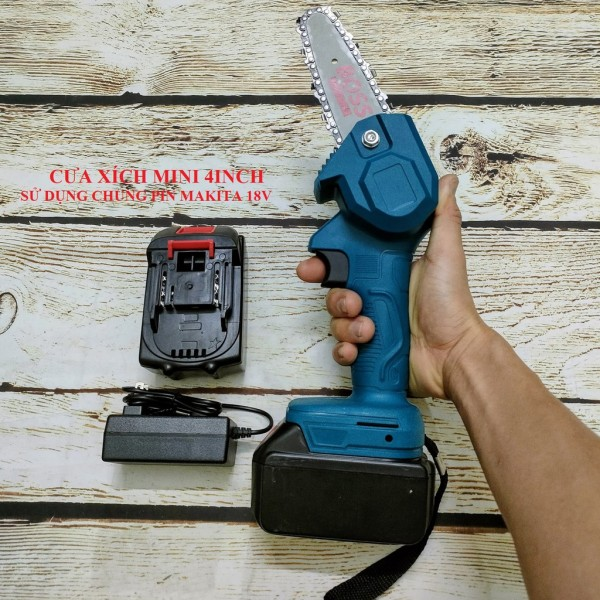 SV Cưa xích chạy pin 18V - 21V lam xích 4inch (chung pin Makita)