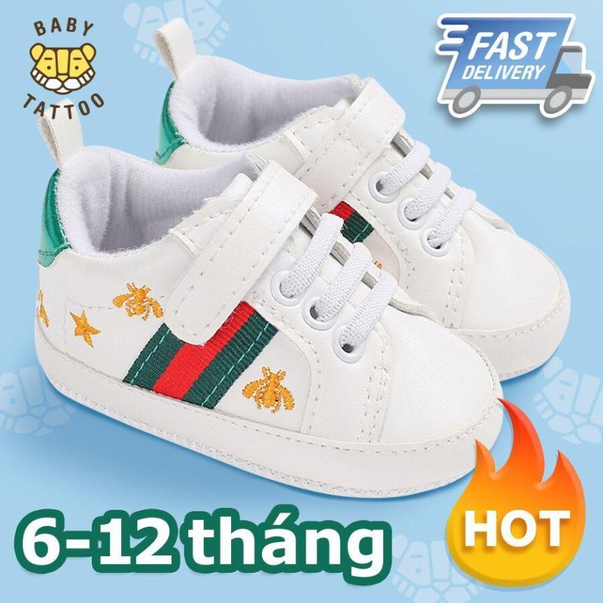 BABY TATTOO Giày tập đi CAO CẤP cho bé sơ sinh Hình Chú Ong nhỏ Bé mang vào không dễ rớt Giày thể thao đế mềm 6-12 tháng. giá rẻ