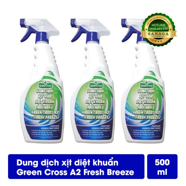 Combo Diệt Khuẩn Bề Mặt GREEN CROSS A2 - 03 chai Dung Dịch Xịt Diệt Khuẩn Bề Mặt 500ml - Hương Fresh
