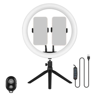 12-Inch Ring Light Live Selfie Ring Light with Desktop Adjustable Tripod Support 3 Modes and 10 Brightness Levels thumbnail