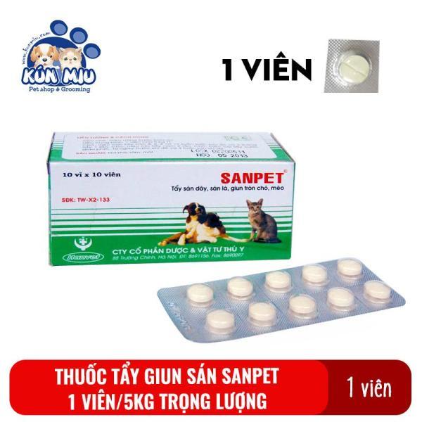 1 Viên Thuốc Tẩy Giun Sán Cho Chó Mèo Sanpet - Thuốc Xổ Giun, Sán, Lãi Cho Thú Cưng