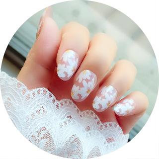 Bộ 24 móng tay giả hoa cúc trắng nail giả đẹp hot trend móng giả bộ móng tay giả móng tay giả hoa cúc có keo sẵn IW-MT023 thumbnail