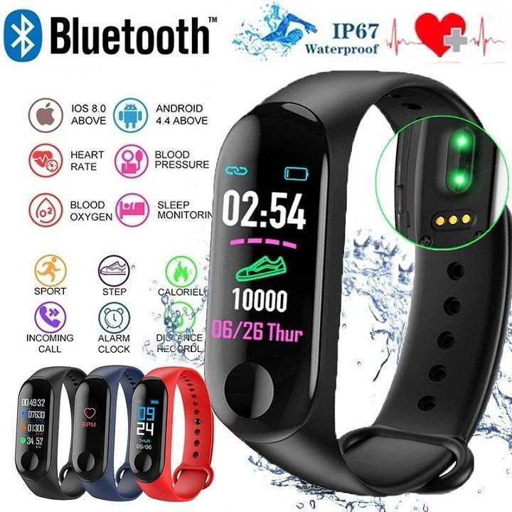 Vòng đeo tay thông minh theo dõi sức khỏe M3 Plus - Đo nhịp tim, huyết áp