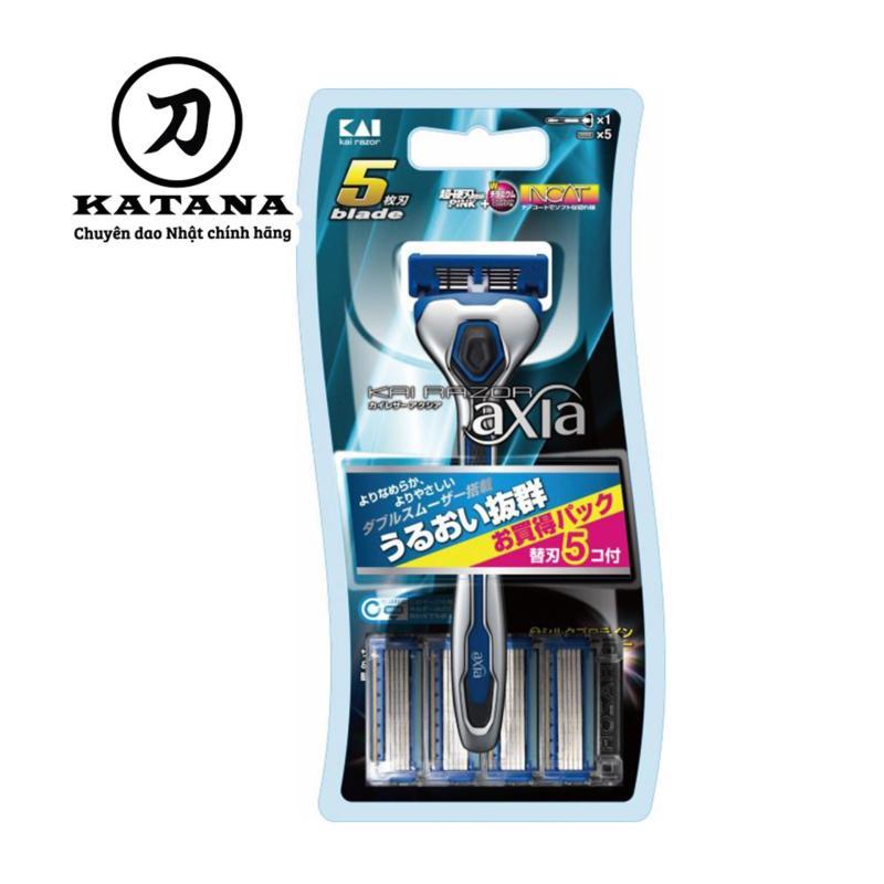 Dao cạo râu Nhật Bản 5 lưỡi cao cấp Axia kèm thêm 5 đầu thay - Bảo hành 12 tháng