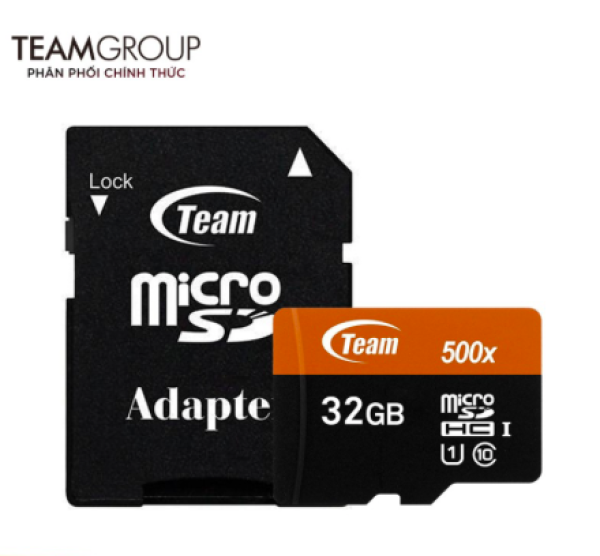 Thẻ nhớ 32GB microSDHC Team 500x upto 80MB/s class 10 U1 kèm Adapter (Cam) - Hãng phân phối chính thức  FSPT