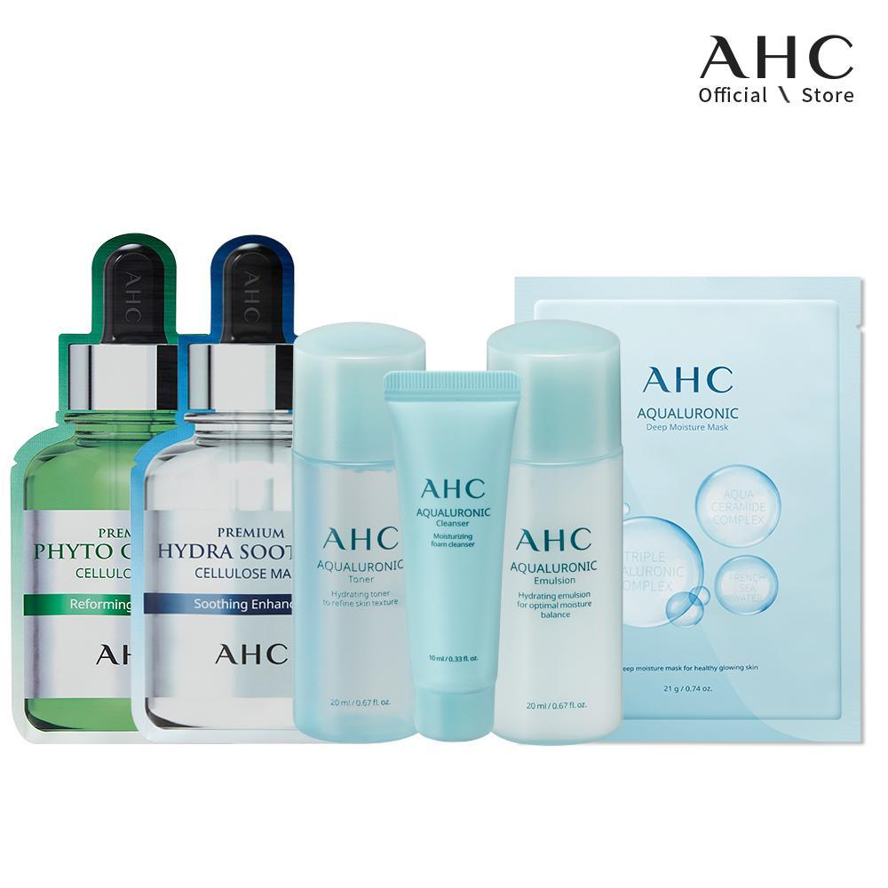 Bộ Dưỡng Ẩm Chuyên Sâu AHC (Aqualuronic Travel Kit + 3 Mặt Nạ - Hydra + Aqualuronic Deep Moisture + Phyto) tốt nhất